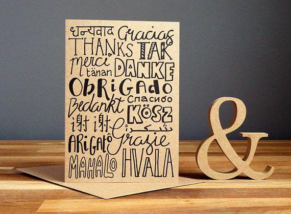 Tarjeta de agradecimiento gracias en diferentes idiomas