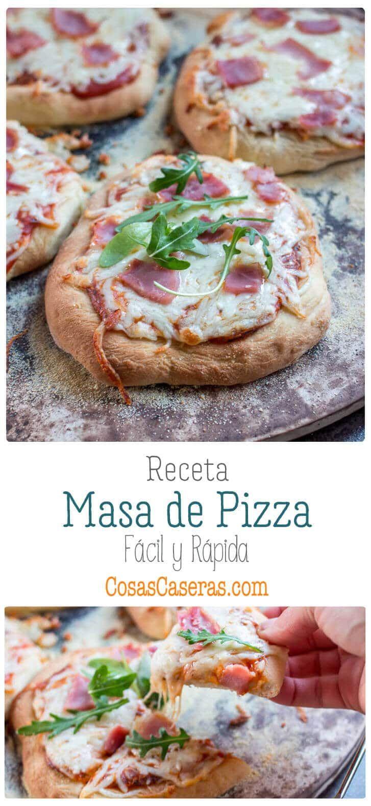 En poco más de media hora, tendrás lista esta receta de masa de pizza rápida y fácil para hacer unas pizzas deliciosas y a tu gusto. #pizza #masa #masapizza