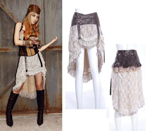 RQ-BL-Steampunk-Rock-2-tlg-Gothic-Lolita-Skirt-Vintage-Kunst-Leder-Spitze-SP014
