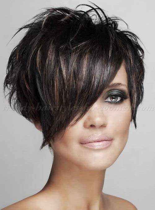 6-Short Hair with Long Bangs
