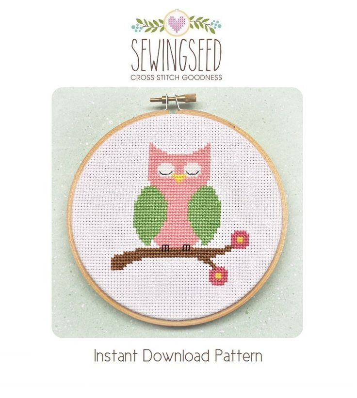 Pink Owl Cross Stitch Pattern Instant Download by Sewingseed