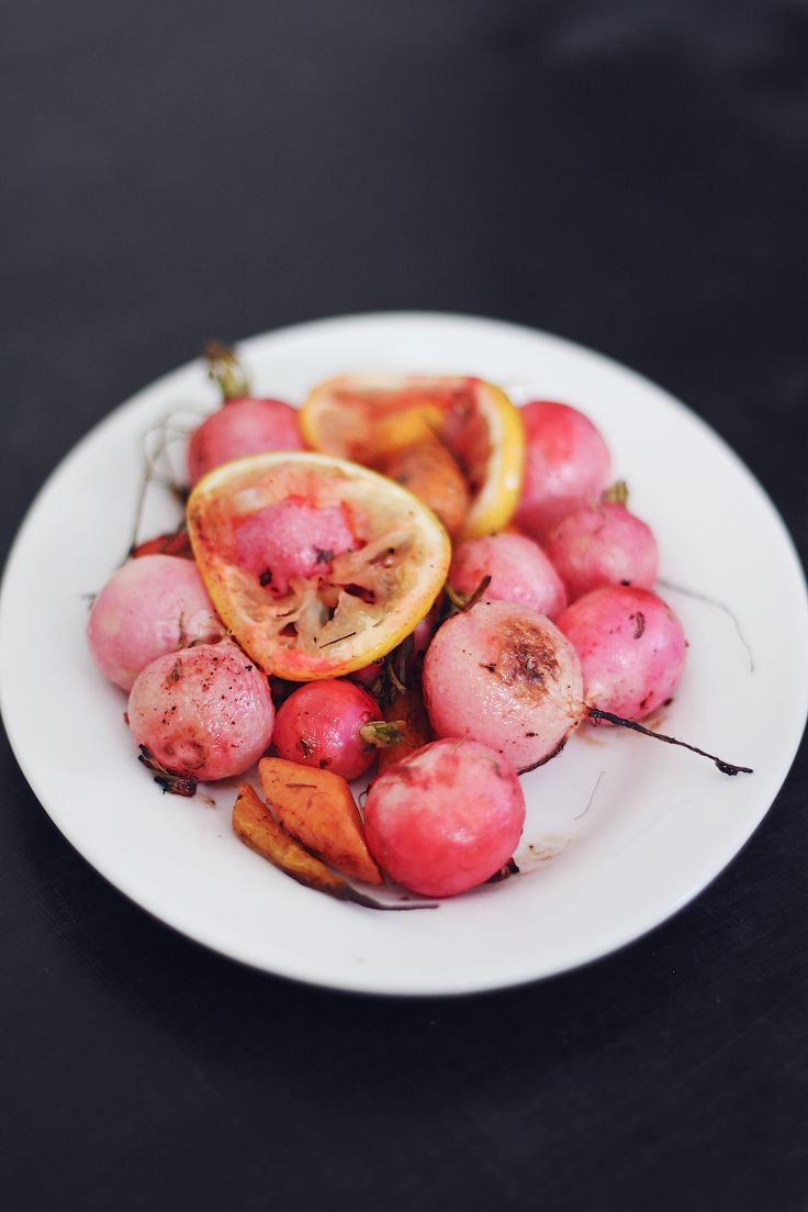 Roasted radishes... I've never had them, but if they taste as good as they look pretty, I'm in heaven!