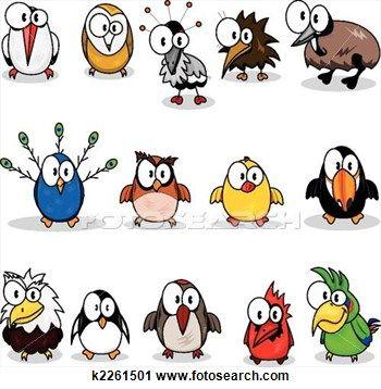 Collection of cartoon birds Clipart