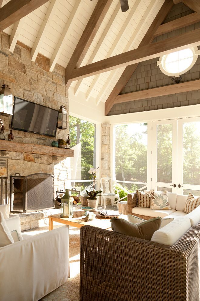Screened In Porch With Vaulted Ceiling Screen Porch Trim And Ceiling Paint Color Is Benjamin Moore Oc 17 White Dove Scree With Images House With Porch Home Porch Design