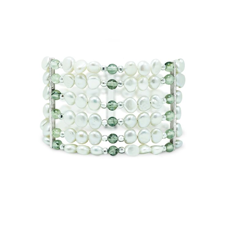 One-of-a-kind pearl and prasiolite bracelet. Timeless sophistication. #jewelry #jewellery #pearl #bracelet
