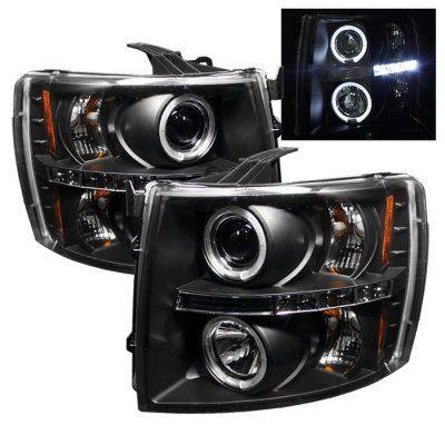 Chevy Silverado 2007-2011 Black Dual Halo Projector Headlights with LED