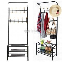 Fast Delivery in US Multipurpose Metal Coat Clothes Shoes Steel Pipe Stand Clothes Shoes Hanger Rack Clothes Organizer