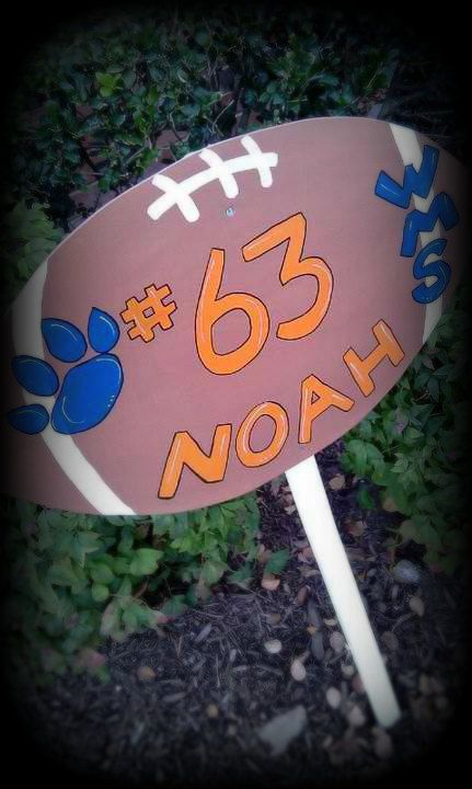 Custom made hand painted football team yard sign by myzanyzoo, $45.00
