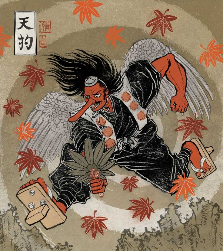 "Tengu (天狗?, ""heavenly dog"") are a class of supernatural creatures found in Japanese folklore, art, theater, and literature. They are one of the best known yōkai (monster-spirits) and are sometimes worshipped as Shinto kami (revered spirits or gods)"