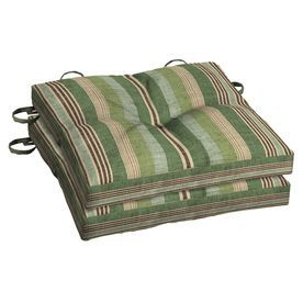 Allen + Roth Green Stripe Seat Pad For Bistro Chair Zf01464b