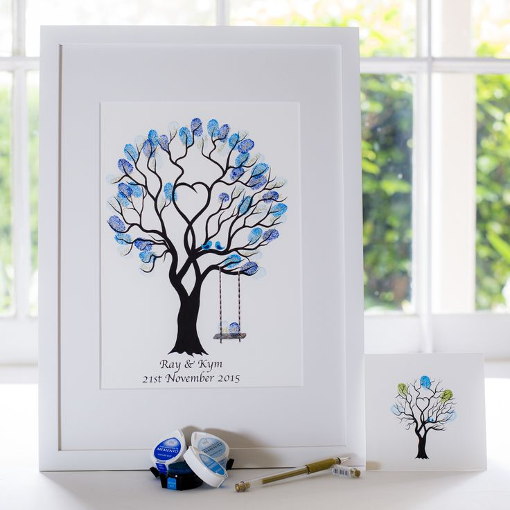 Unity Tree + swing - Blue birds guest book for Wedding, funeral or other celebration. Illustrated by Ray Carter - The Fingerprint Tree® Made-to-order, ships worldwide. The Fingerprint Tree®, bespoke gifts you'll treasure!