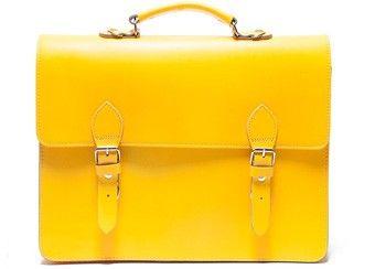 cartable jaune en cuir