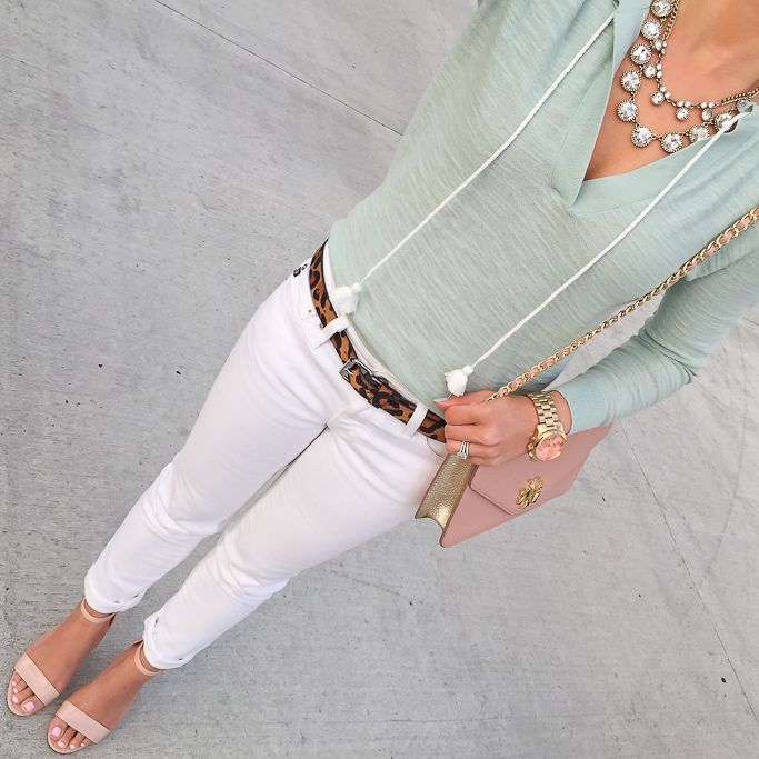 tasseled split neck mint sweater, luminate blush sandals,  spring outfits, white jeans, how to wear white jeans, petite fashion blog - click the photo for outfit details,