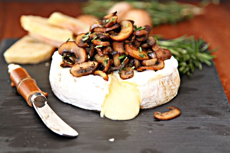 Savory Baked Brie with Crispy Mushrooms