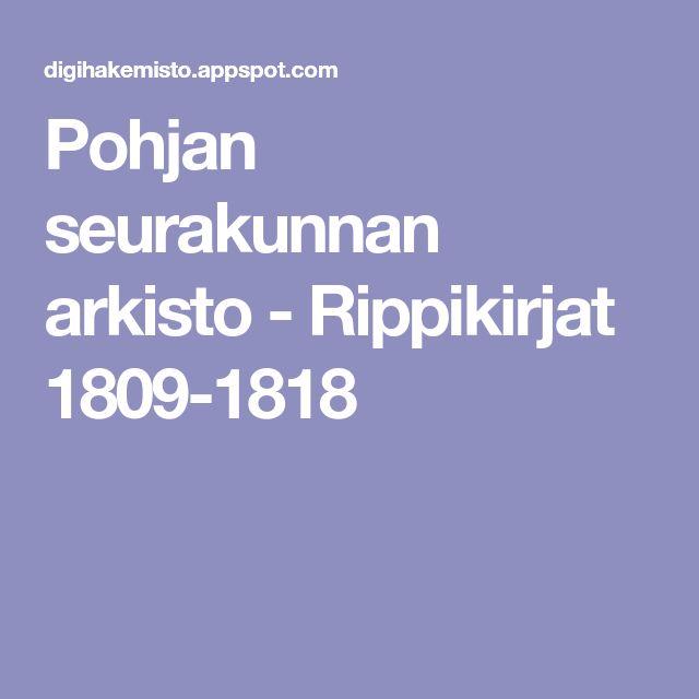 Pohjan seurakunnan arkisto - Rippikirjat 1809-1818