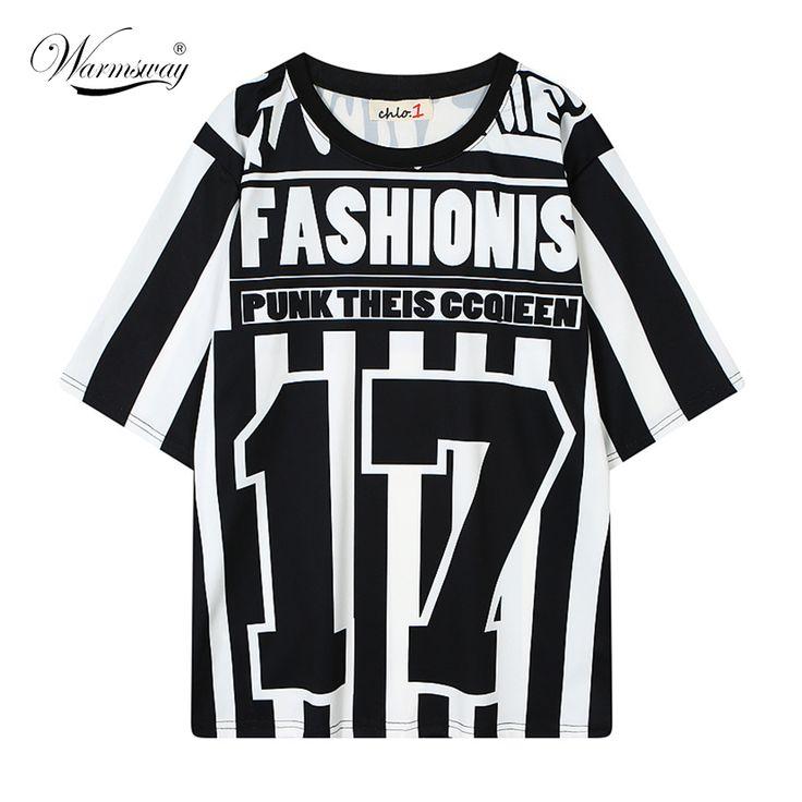 Plus Size Black White Stripe Hip Hop Unisex Number Tshirt Woman Loose T Shirt Religion  roupas femininas Punk clothing TS-038