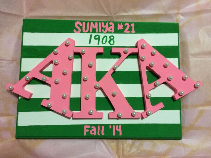 AKA, Sorority Gift, DIY, Acrylic paint, wooden letters, wooden board.