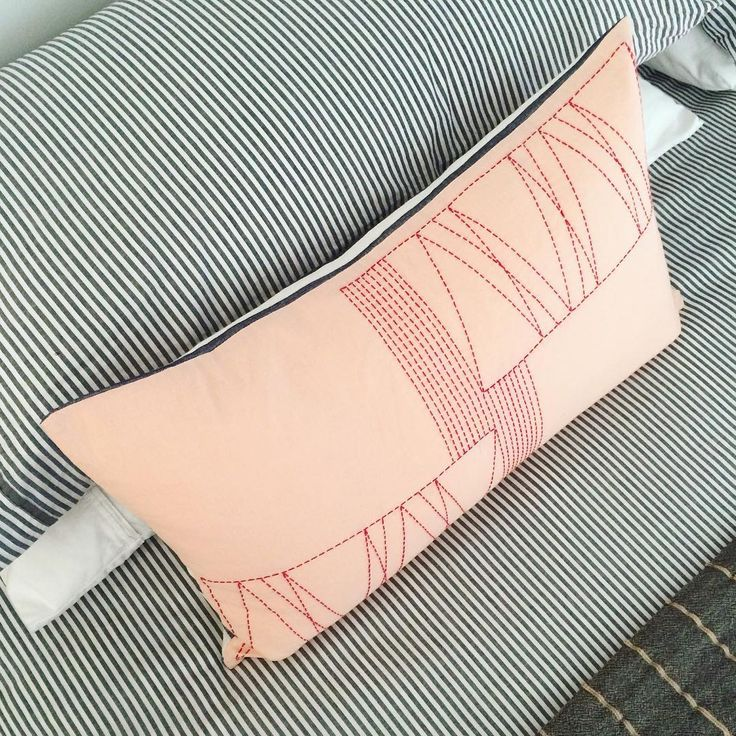 Blush Pink Linen Pillow/Red Sashiko Thread Hand-Stitched Pattern/Navy & White Striped Back.