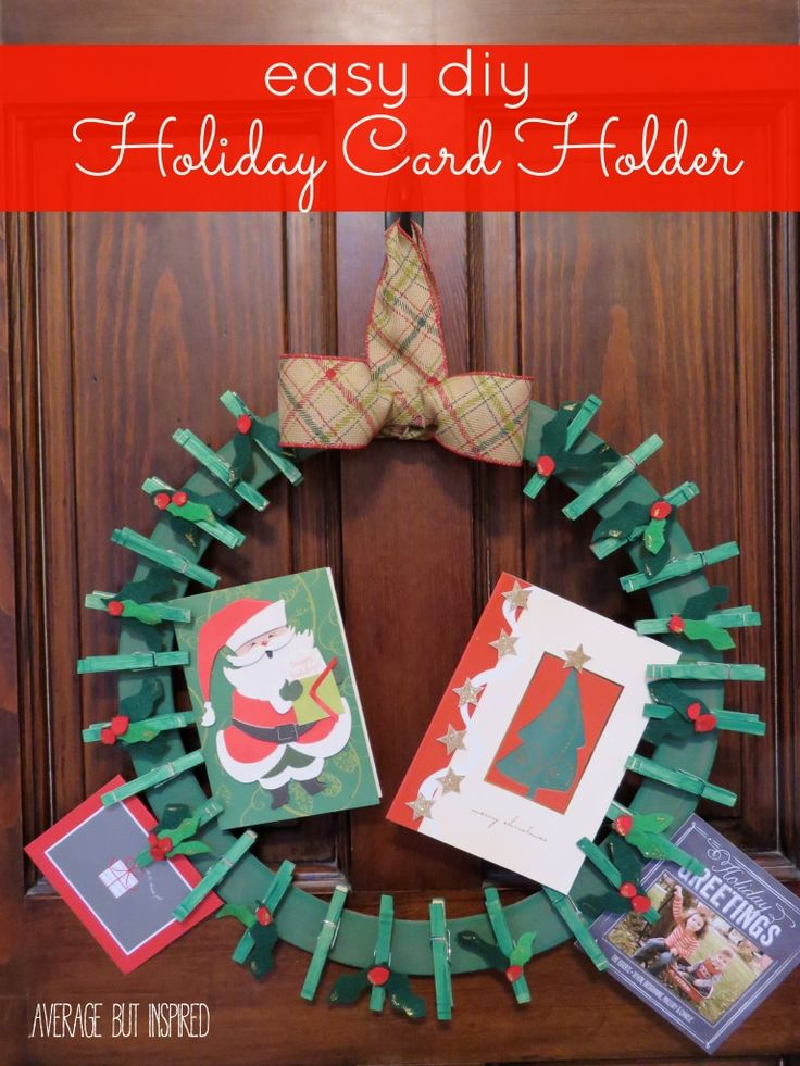 Best 25 diy holiday cards ideas on pinterest creative christmas easy diy holiday card holder solutioingenieria Images