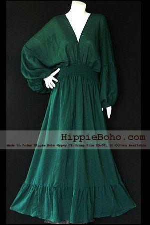 No.004  - Size XS-5X Hippie Boho Bohemian Forest Green Caftan Long Sleeve Kimono V Neck Maxi Dresses Women's Plus Size Clothing