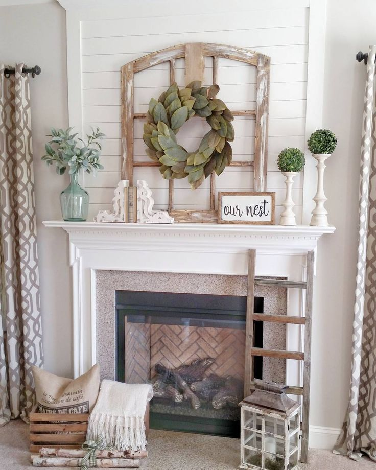 822 best mantle style images on pinterest fireplace for Farmhouse fireplace decor