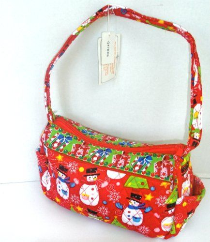 Quilted Zippered Holiday Christmas Themed Handbag Red