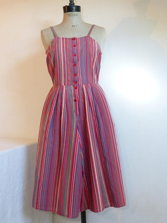 Multicolour stripes cotton CACHAREL culotte summer dress with buttoned straps - French 70s vintage