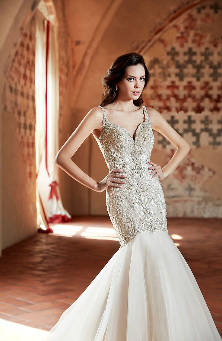 Style Ct 173 Encrusted Beaded Tulle Dress With Sweetheart Neckline Cap Sleeves