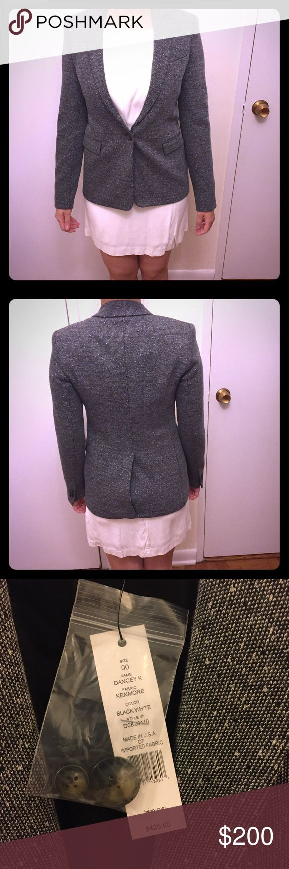Theory Grey Tweed Blazer - NWT Basics: Brand new with tags - Grey tweed, fully lined blazer from Theory - Size 00   Material: Wool, fully lined   Structured tweed blazer, very thick material so you can wear it on its own in those transitional months as a jacket and it's a perfect winter weather blazer. Comes with extra buttons. The grey, white, and black tweed make it a very versatile piece.  Jeans and shirt in first two pictures are also for sale!! Bundle for a discount! Theory Jackets…