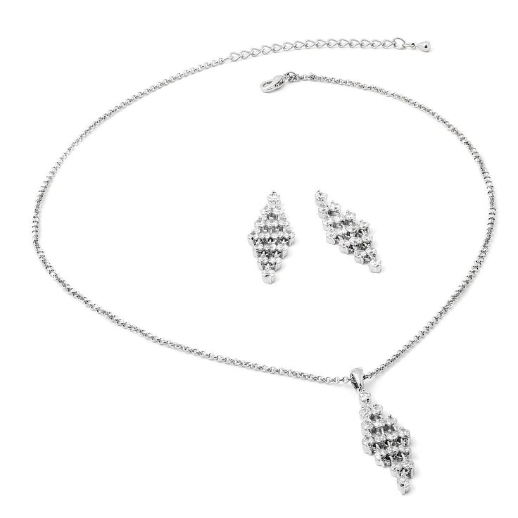 Rhodium Link Chain with Diamond Formation Crystal Cubic Zirconia Centerpiece Necklace and Matching Earrings Jewelry Set