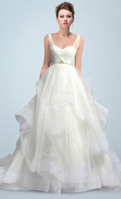 Romantic Ruched Appliqued Pick-ups Princess Sweep Wedding Dress