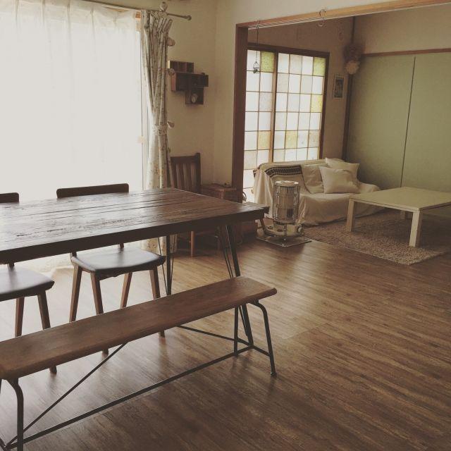 リフォーム  家は床をフローリングに変えただけ なのですが、それだけでも雰囲気変わりました(*´ー`*)塩系インテリアの会/障子/団地/部屋全体/ダイニングテーブル/古木のテーブル…などのインテリア実例 - 2015-04-30 17:00:15 | RoomClip(ルームクリップ)