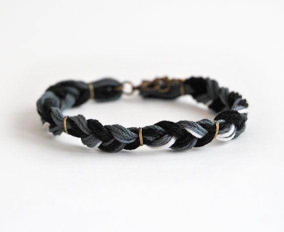 Black braid bracelet for him, male bracelet, male friendship bracelet, gift for him, black bracelet