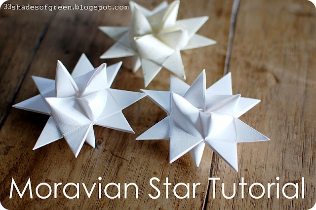 Moravian Star TutorialPaper Stars, Handemade Holiday, Stars Tutorials, Moravian Stars, Shades Of Green, Paper Crafts, Christmas Trees, 33 Shades, Diet Coke