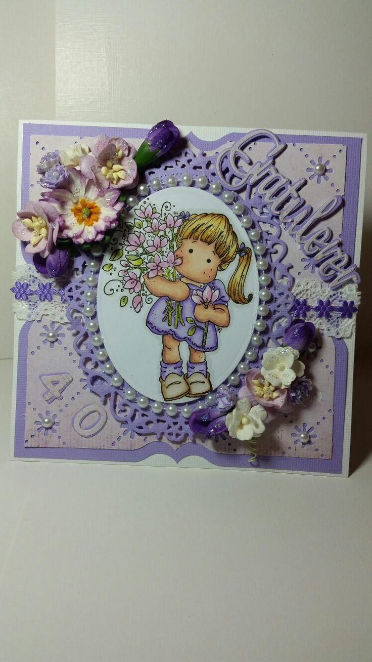 Birthday card with Magnolia stamp