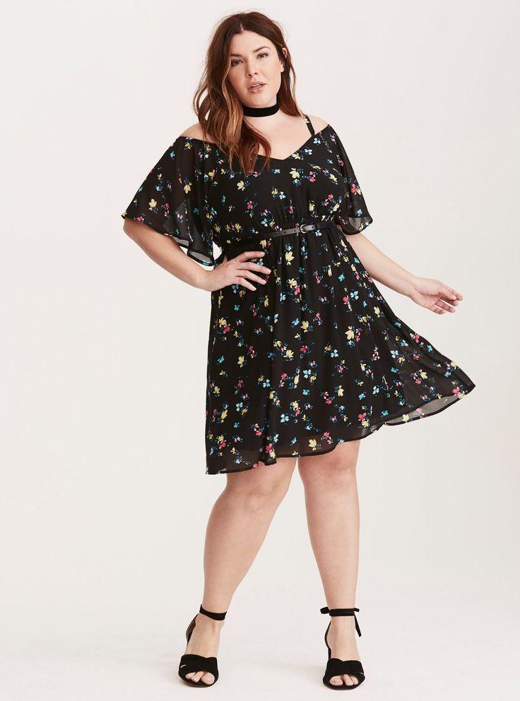 Floral Print Chiffon Cold Shoulder Dress/ Plus Size Clothing / TORRID