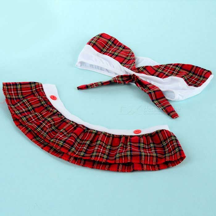 Sexy School Uniform Collar Tie Miniskirt Suit - White + Red Grid