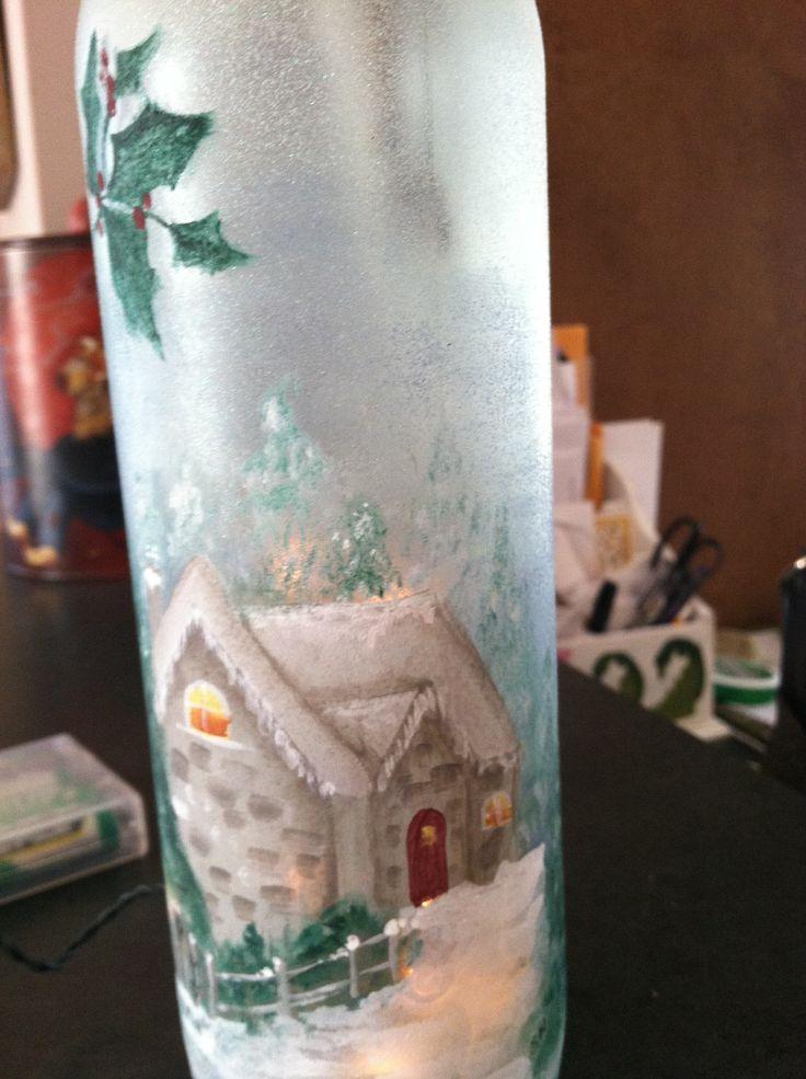 Painted wine bottle w/ lites
