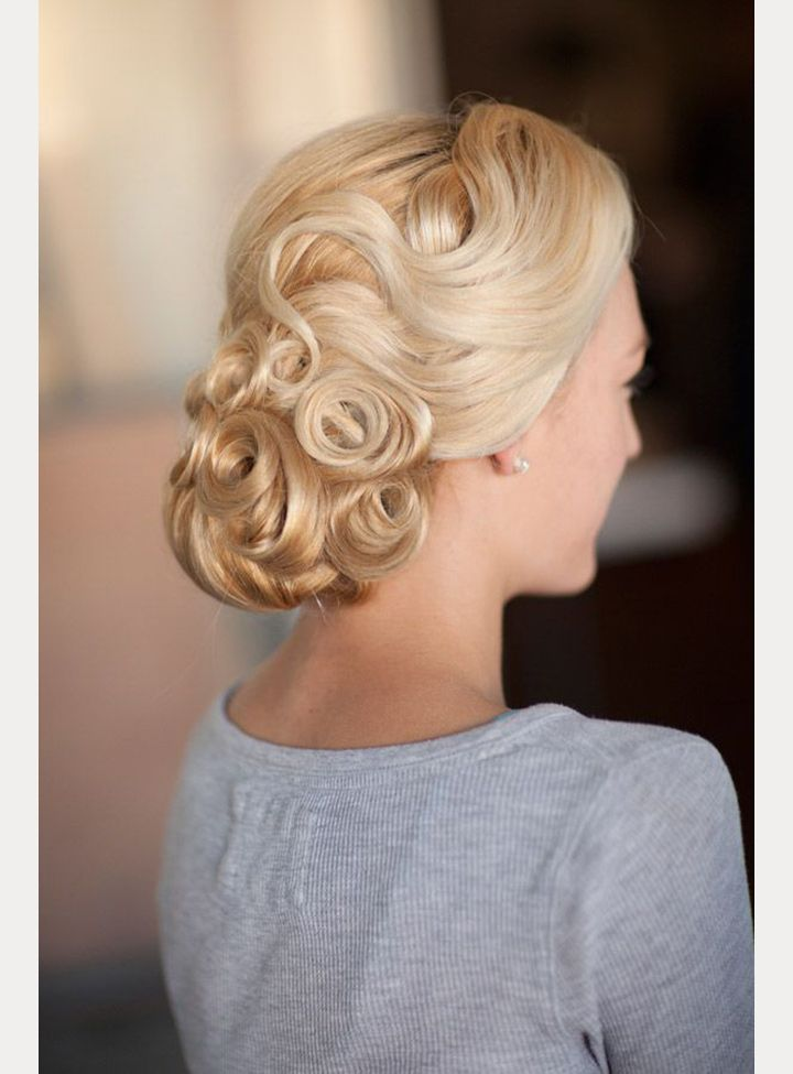 Low chignon with pin curls ~ we ❤ this! moncheribridals.com