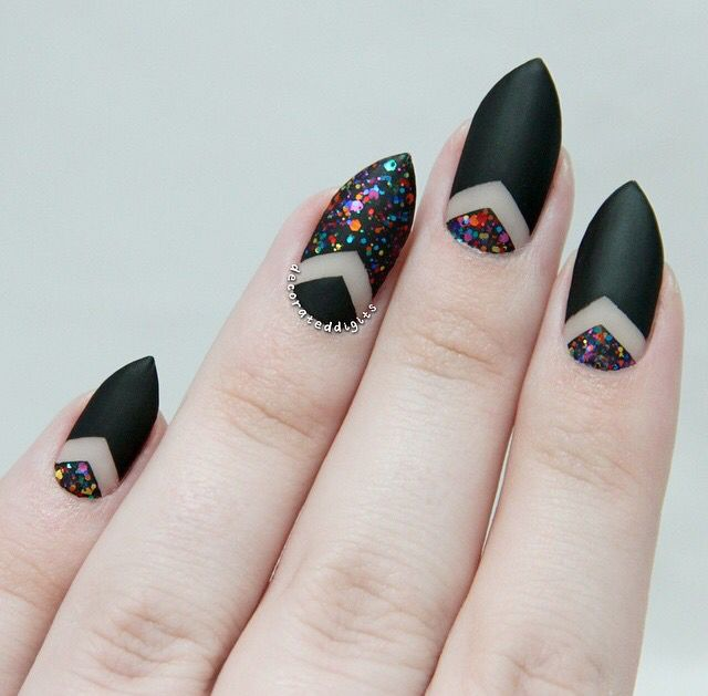 Matte glitter and negative space nails by @decorateddigits