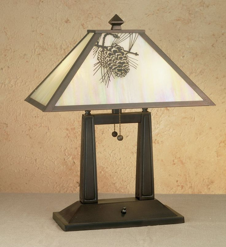 """20""""H Winter Pine Oblong Table Lamp Item #28643 American Craftsman desk lamp laden with Pine Cone branches accent handcrafted in the USA and finished in a warm Craftsman Brown and has a shade with Beige Iridescent art glass panels."""