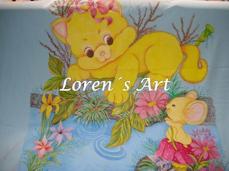 Tendido para cama infantil pintado a mano sobre tela tendidos de cama infantiles pinterest - Telas para colchas infantiles ...