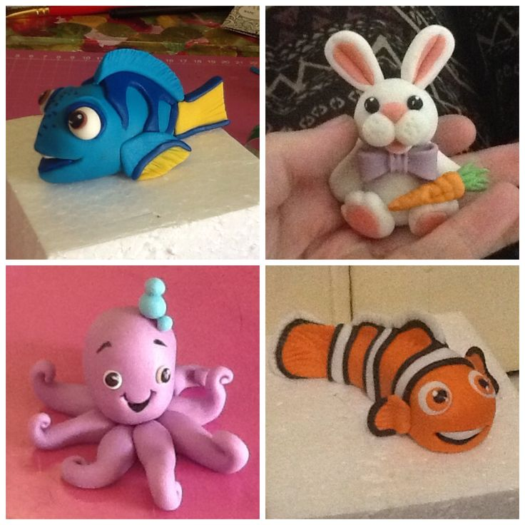 Fondant nemo, dory, rabbit and octapus