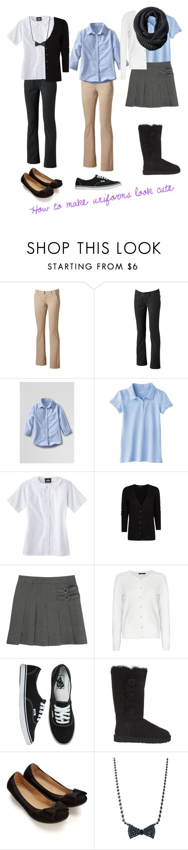 """Helpful tips--How to make uniforms look cute"" by tinydancer1175 ❤ liked on Polyvore featuring UNIONBAY, Lands' End, Dickies, MANGO, French Toast, Vans, UGG Australia, Accessorize, Krystal and Merona"