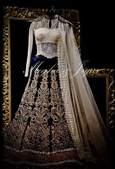 Beautiful lace blouse design and lehenga mix ----------------------------------------------- Megha and Jigar Info & Review | Bridal / Trousseau Designers in Delhi | Wedmegood