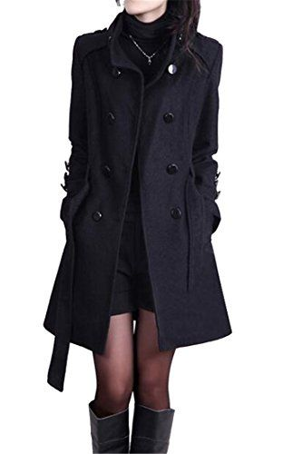 81c08f14d142b WAWAYA Women s Double Breasted Belted Fall Winter Wool Blend Trench Jacket  Pea Coat Black XL Best Winter Coats USA