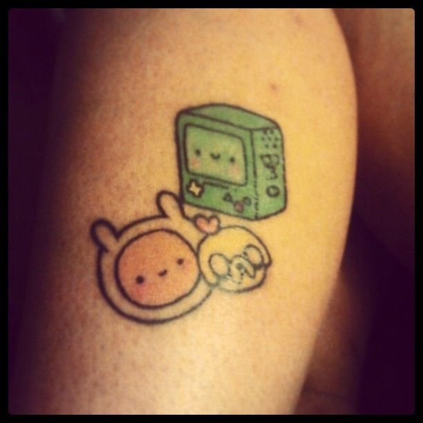 Gosh, this is adorable! Adventure Time tattoo with Finn, Jake, and Beemo.