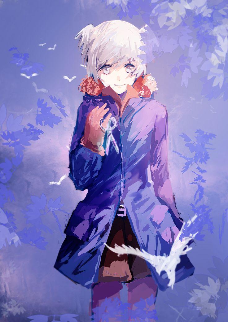 ansatsu kyoushitsu  shiota nagisa  fur  white bird  scissors
