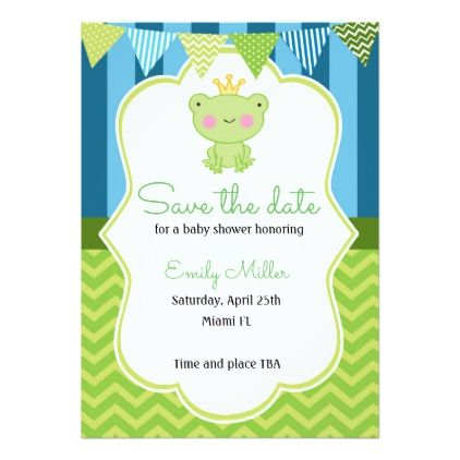 #Prince Frog Baby Shower Save the Date Card - save the date #savethedate #weddinginvitations #wedding #invitations #party #card #cards #invitation #save