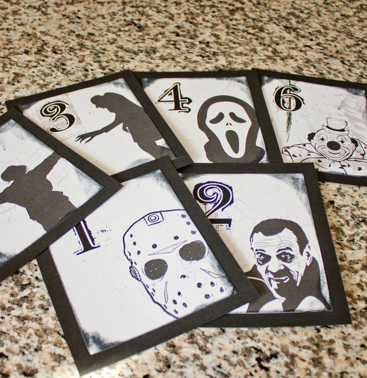 Halloween Horror Wedding Table Number Gothic Fun black and white Dracula Spooky Movie Icons. $2.15, via Etsy.